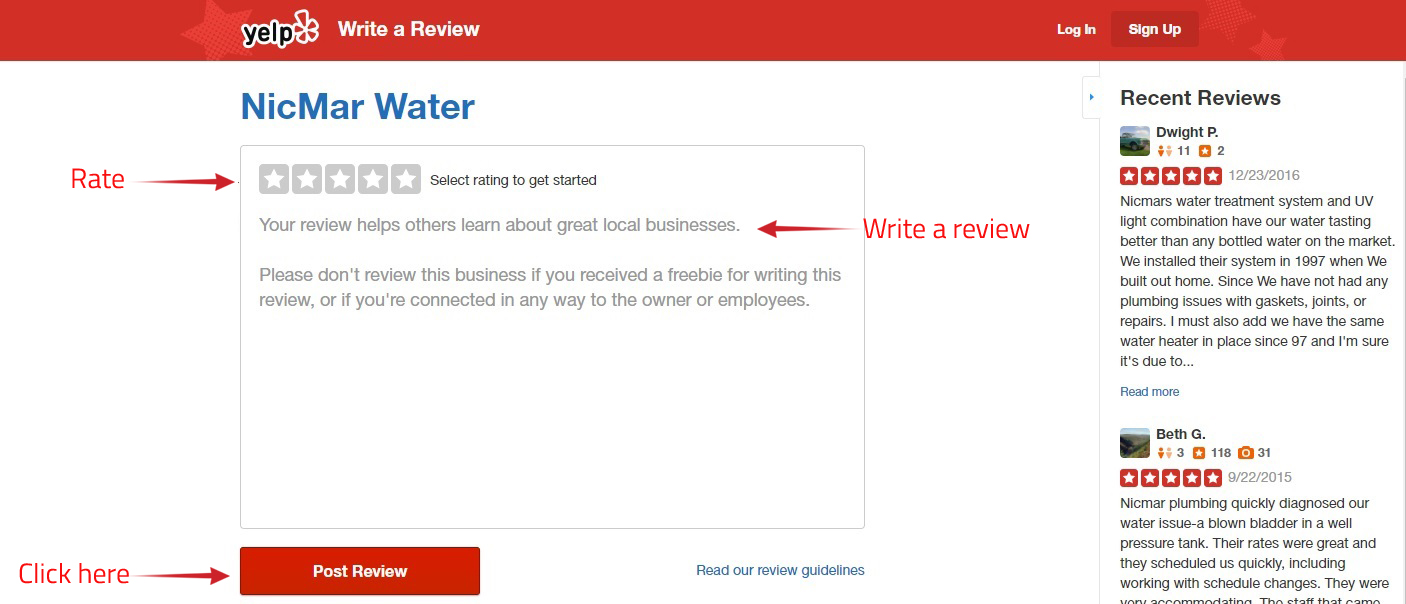 Review Instructions - Water Softener, Filtration, System
